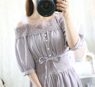 taobao agent Spring new style detachable real hair sling little fairy elegant one-neck off-shoulder high-waist mid-sleeve dress