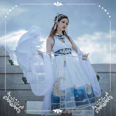 taobao agent 【Final payment & spot】NyaNya sea birth moon lolita original cheongsam collar sleeveless dress OP