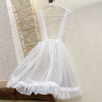 taobao agent Japanese soft girl cute Alice lolita apron blouse, transparent mesh apron, no worries and very happy