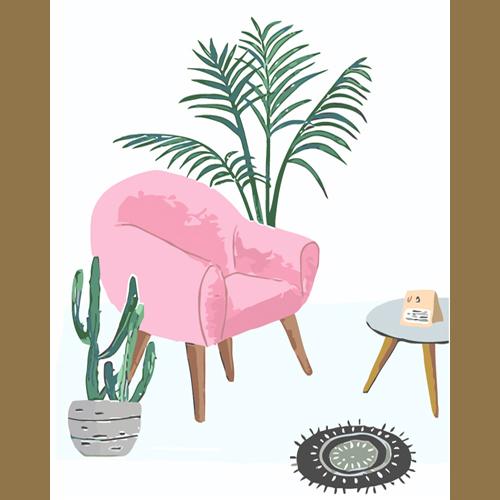 3L096 розовый диван(Раскраска покупателя