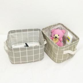 桌面杂物储物盒化妆品棉麻布艺折叠整理框