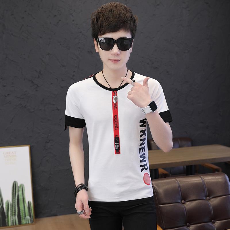 春夏季韩版修身青少年男士短袖布条T恤字母印花休闲上衣潮 T25P38