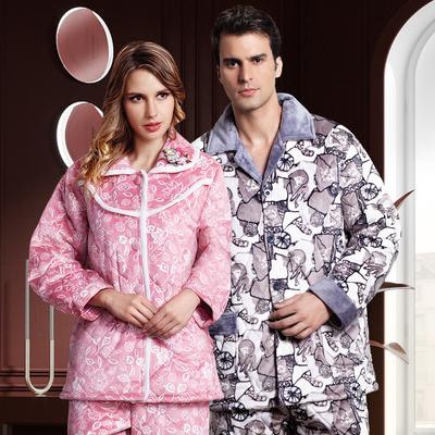 韩姿娜冬季法兰绒夹棉睡衣睡袍保暖青年珊瑚中老年男女家居服套装