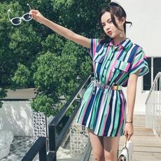 视频+实拍1851#韩版条纹收腰显瘦连体裤时尚阔腿裤(优质面料)
