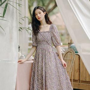 女士法式仙女裙连衣裙泡泡袖雪纺碎花长裙子