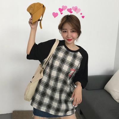 实拍~6723#韩版宽松格子拼接插肩袖字母印花短袖t恤2色