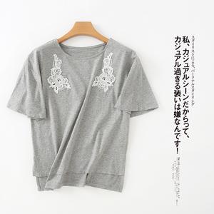 M36D mùa hè của phụ nữ 2018 mới đơn giản hoang dã tinh tế vá ren openwork ngắn tay cổ tròn T-Shirt