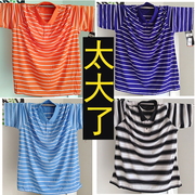 Thêm mã lớn cộng với chất béo polo áo sơ mi nam mùa hè ve áo màu phù hợp với sọc T-Shirt lỏng phần mỏng triều lớn chất béo ngắn tay áo