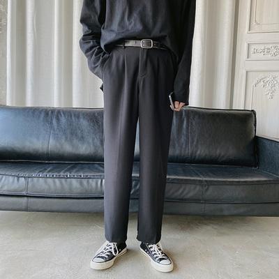Mùa xuân và mùa thu mới quần dài thẳng Hàn Quốc quần rộng giản dị Hong Kong phong cách ins xu hướng quần thẳng nam hoang dã - Quần