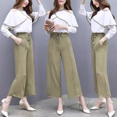 实拍早春季新款女韩版洋气小香风套装女神时尚阔腿裤子两件套气质