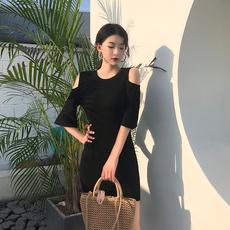 实拍571韩版新款露肩连衣裙显瘦港 味chic裙子针织铅笔裙