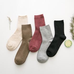 韩版学院风纯棉堆堆袜5双装