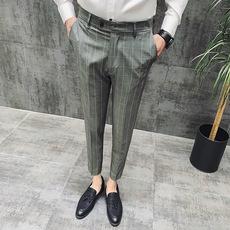 春夏新款 商务休闲九分裤 男士西裤 男式格子修身九分裤K106-P65