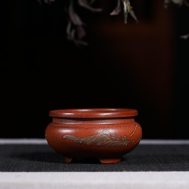 Đài Loan trở lại cũ màu tím cát chậu hoa Cộng Hòa của đất nước handmade handmade antique bùn màu tím sơn chậu hoa đặc biệt cung cấp