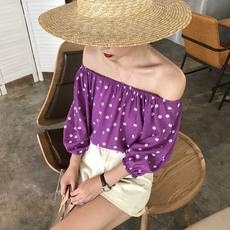 实拍实价~ 7840# 复古风甜美系可爱圆点一字领衬衫 2色