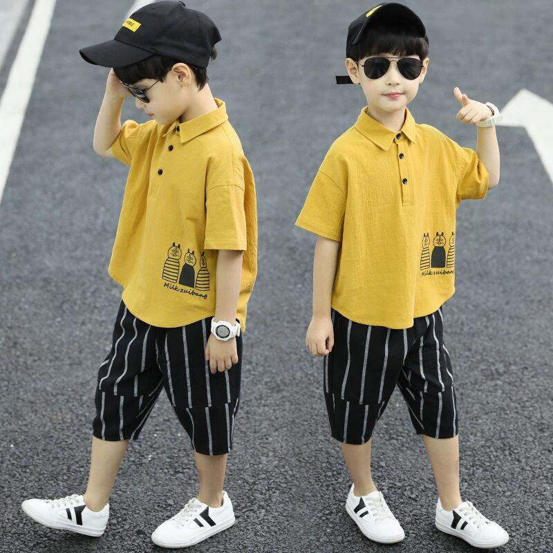 夏装纯棉t恤中大男童套装宽松洋气韩版衣服