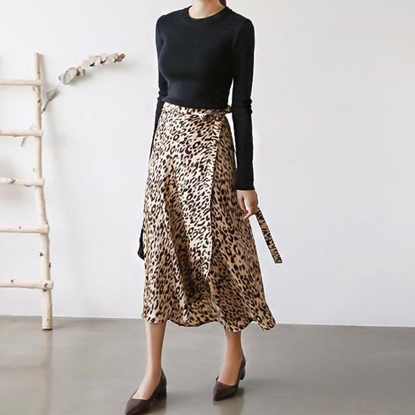 7227#豹纹半身裙女2020新款中长款花色a字系带雪纺裙