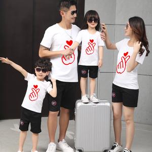 Cha mẹ và con mặc mùa hè 2018 làn sóng mới đầy đủ gia đình nhà ba gia đình phù hợp với nữ của phụ nữ ngắn tay t-shirt mùa xuân