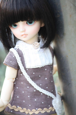 taobao agent 6 points【endless】sd/bjd baby clothes girl full set of small schoolbag jacket brown bb size