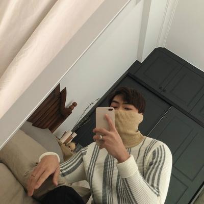 [JM] 3 màu sắc vào phong cách Anh Hàn đơn giản sọc dọc Slim đáy dày đan áo len cao cổ nam giới và phụ nữ