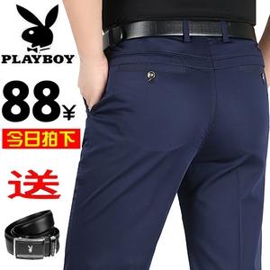 Playboy của nam giới thường quần mùa xuân và mùa hè phần mỏng trung niên stretch straight quần của nam giới kinh doanh loose daddy quần
