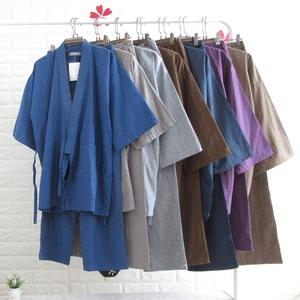 Bông gạc thanh niên kích thước lớn kimono nam mùa xuân và mùa hè áo choàng tắm phần mỏng màu rắn dịch vụ nhà và gió Nhật Bản phong cách bảy phần tư tay áo quần