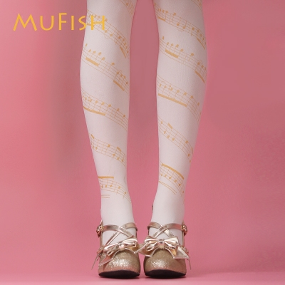 taobao agent Girls Seven Points Sweet Ode to Joy Music Lolita 120D Velvet Printed Pantyhose Lolita Socks Ladies Socks