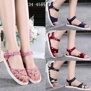 Vải vải cũ giày dép nữ triều handmade làm bằng tay lớp cũ Bắc Kinh truyền thống khóa retro home home giày