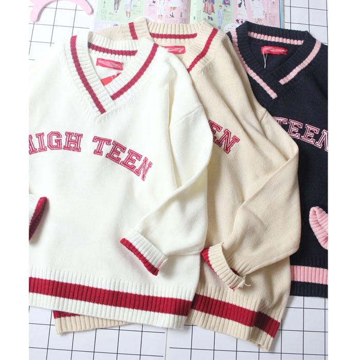 Hàn quốc phiên bản của các cô gái lỏng cổ áo V-cổ thư thêu cao đẳng gió mềm chị gái dệt kim áo len mùa thu và mùa đông mới
