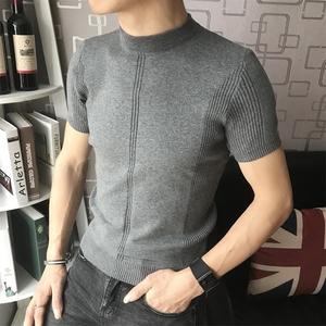 Mùa hè băng lụa mỏng vòng cổ ngắn tay t-shirt nam cao cổ áo len nửa tay Mỏng mùa xuân và mùa thu đan áo len triều