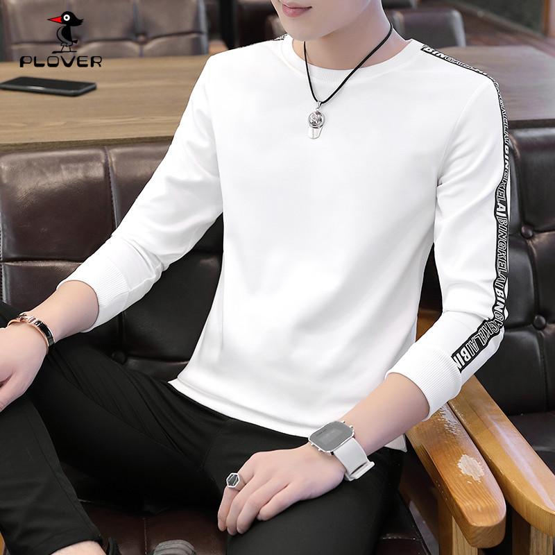 啄木鸟秋季新款潮男青年休闲长袖T恤翻领半袖纯色棉t恤男装卫衣