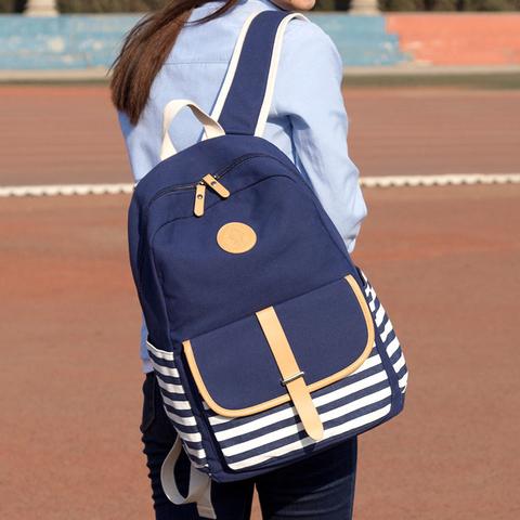 高中初中学生校园韩版大容量帆布双肩书包少女ins风五六年级初一