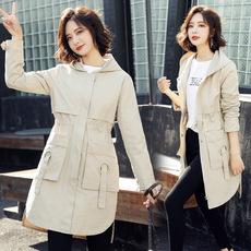 时尚潮流舒适简约个性纯色中长款2019春装新款风衣外套
