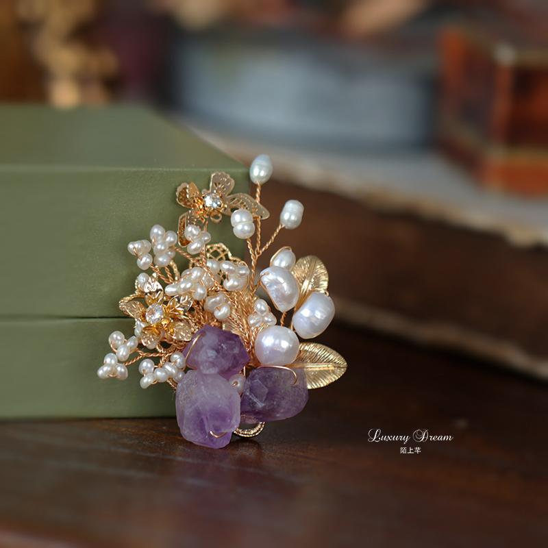 天然紫晶原石复古风胸针高档女气质别针装饰时尚百搭胸花