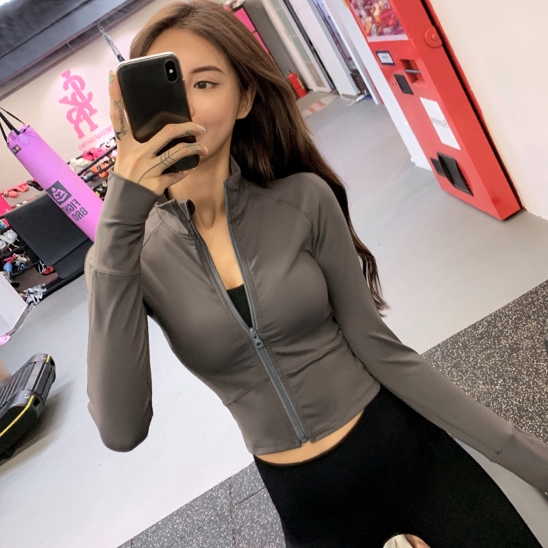 Slim jacket tight Yoga suit long sleeve running quick drying short zipper sports coat womens autumn fitness suit top