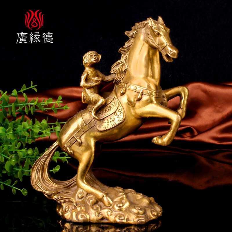 马上封侯摆件铜猴子骑马十二生肖马猴客厅办公室桌面摆件