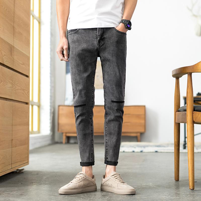 D38-P85 新款潮牌一字破洞九分裤男韩版修身牛仔裤毛边 黑灰色