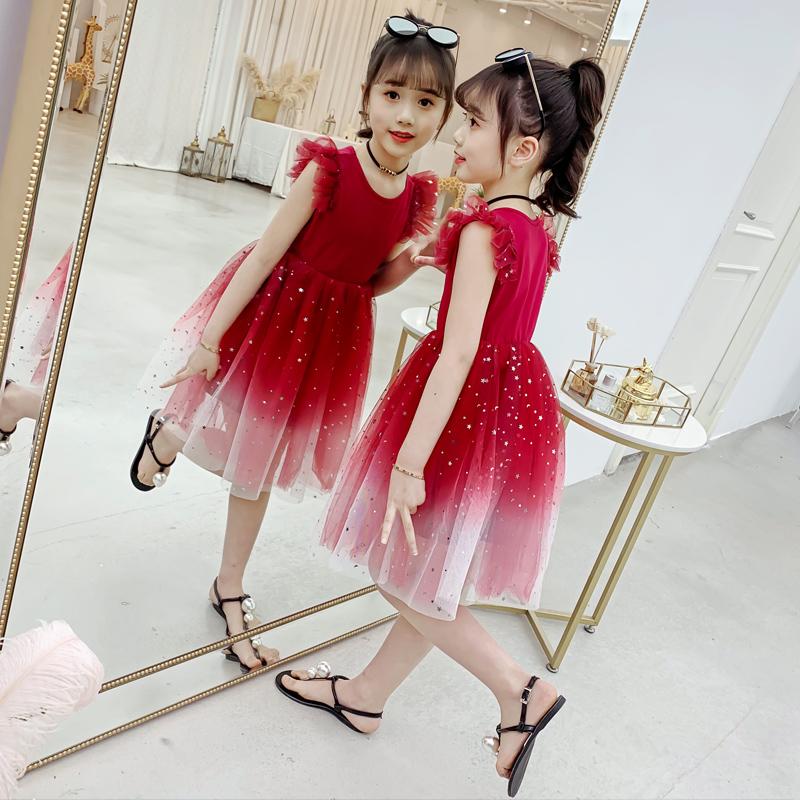 女童连衣裙夏装2021新款洋气中大童夏季中大童网红时尚公主纱裙子