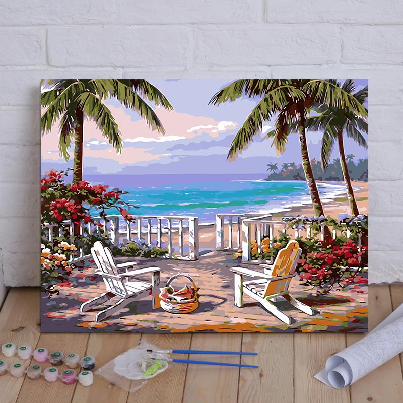 Сделай сам номер слово масло цвет Рисовать декомпрессию ручная работа Пейзаж цветок гостиная спальня заливка ручная роспись цвет украшение картина пляж