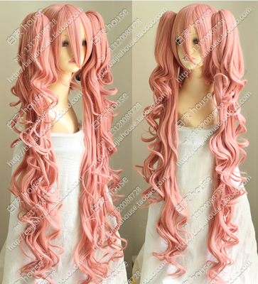taobao agent Cos wig, smoky pink, face-closed short hair + double tiger card long curls