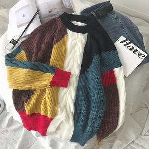 Mùa xuân và Mùa Thu Mới Thời Trang Jacquard Nam Harajuku Năm Mới Áo Len Màu Lỏng Lẻo Khâu Len Vài Dệt Kim Triều