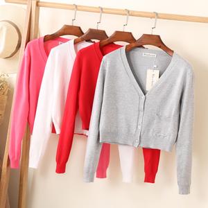 工厂直销春装毛衣超短款针织女开衫薄款夏季修身上衣披肩外套