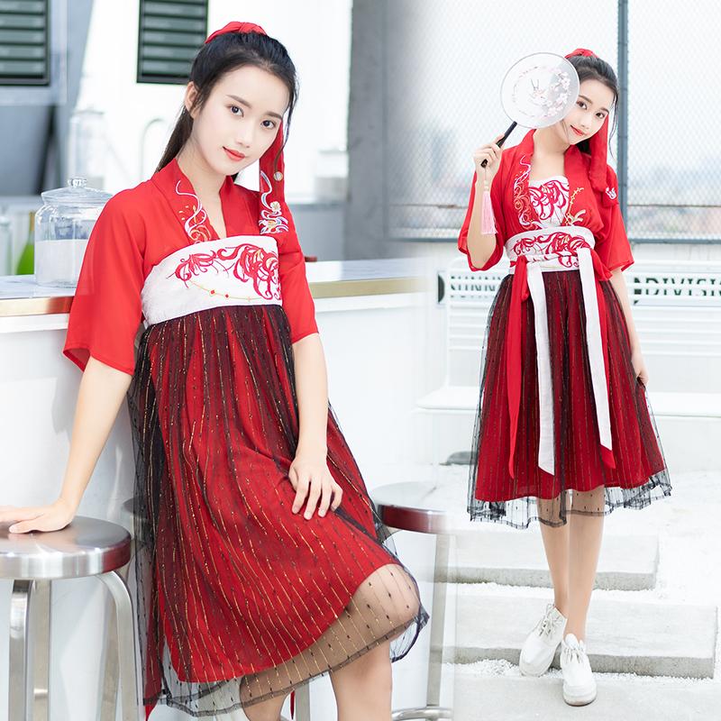 81075实拍彼岸花汉元素刺绣花短袖上衣齐胸襦裙系带半裙 改良汉服