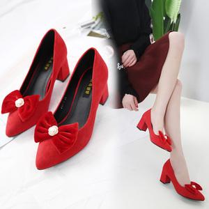新款蝴蝶結女鞋粗跟單鞋婚鞋時尚百搭淺口鞋工鞋簡約中高跟鞋J032
