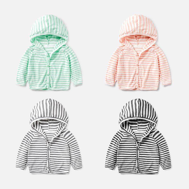 婴儿夏装防晒衣0-1岁小童条纹衣服女上衣男宝宝连帽开衫外套夏季[优惠5元包邮]