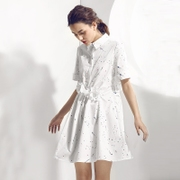 Giải phóng mặt bằng giá 173 nhân dân tệ HeyDress váy màu mực in áo váy váy nếp gấp ren