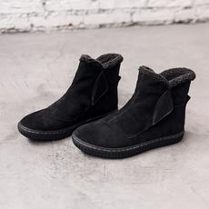 冬季保暖雪地靴青年马丁靴加绒皮靴潮短靴高帮防水防滑皮毛一体
