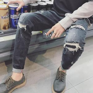 17秋冬新款嘻哈韩版乞丐裤潮流男士破洞个性刮烂小脚裤休闲牛仔裤