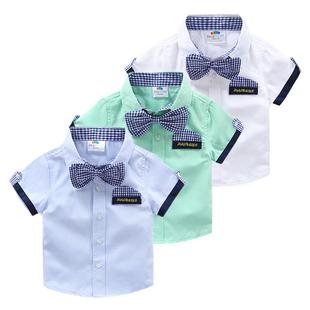 Ребенок рубашка  2020 летний костюм корейская новая версия мужской ребенок ребятишки ребенок галстук-бабочка рубашка tx-5271