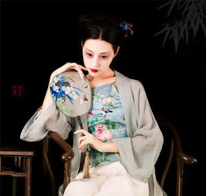 Hibiscus thẻ hoa phong cách Trung Quốc retro đẹp tinh tế thêu tay thêu sexy tạp dề 丨 Jane tình yêu thiết kế ban đầu
